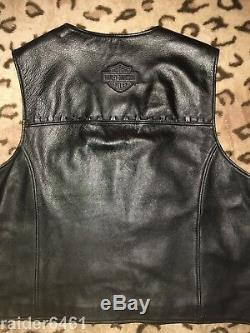 Harley Davidson Bar & Shield En Cuir Noir Hommes Gilet 2tg H-d 97024-02vm Guc