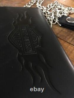 Harley Davidson Bar Shield Flamming Grande Tifold En Cuir Noir Porte-monnaie