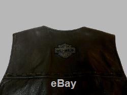 Harley Davidson Bar & Shield Gilet De Moto En Cuir Noir Hommes Grandes Lg 154