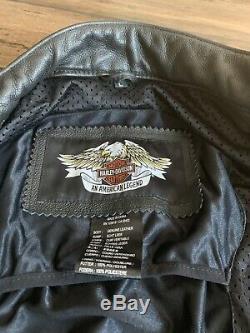 Harley Davidson Bar & Shield Hommes Flame Taille Veste En Cuir Grandes Poches Armure