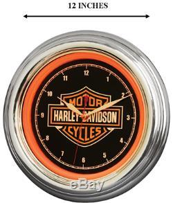 Harley Davidson Bar & Shield Led Orange Mur Clock- 12 Pouces