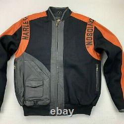 Harley Davidson Bar & Shield Orange Cuir Noir Et Veste En Laine Xs