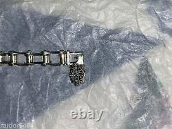 Harley Davidson Bar & Shield Sterling Silver Chaîne Lien Biker Bracelet 46 Gr Euc