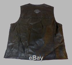 Harley Davidson Bar & Shield Veste En Cuir Noir Hommes Grandes Lg Très Belles 121
