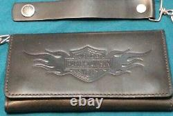 Harley Davidson Black Leather Trifold Wallet Withchain, Bar & Shield Winged Flames