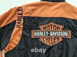 Harley Davidson Black Orange Bar & Shield Nylon Racing Jacket Taille XL 97068-00v