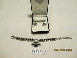 Harley Davidson Bracelet Et Boucles D'oreilles Pour Femmes En Cristal Bar & Shield