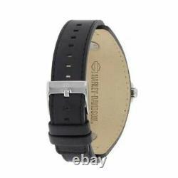 Harley Davidson Bulova Ghost Bar & Shield Wrist Watch Bracelet En Cuir Wristwatch