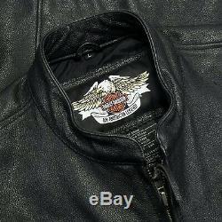 Harley Davidson Cafè Racer Bar & Shield En Cuir Noir Motard Veste L