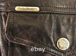Harley Davidson Chemise En Cuir Veste Bar Shield Moto Mens Vintage-medium