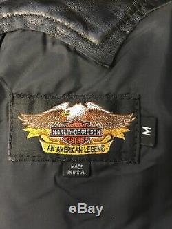 Harley Davidson Cuir Noir Franges Chaps Silver Bar Et Le Bouclier Concho USA M