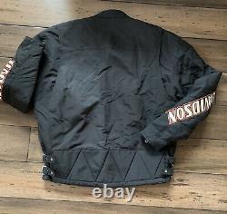 Harley Davidson En Nylon Brodé Bar & Shield Belted Jacket Taille Grande