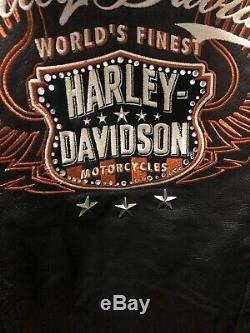 Harley Davidson Équitation En Cuir Veste 3 En 1 Moxie Bar & Shield Ventilé Femmes M