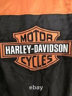 Harley Davidson Euc Rare Veste De Course Xs Nylon Noir Orange Barre Bouclier