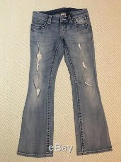 Harley Davidson Femmes Distressed Clouté Bar & Shield Bootcut Jeans Sz Petite 2
