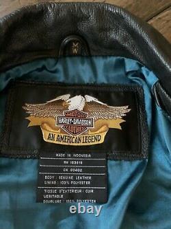 Harley Davidson Femmes Veste En Cuir Bar & Shield Taille Medium