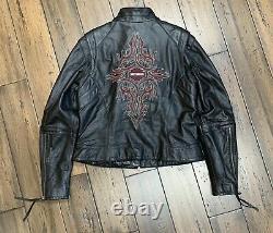 Harley Davidson Femmes Veste En Cuir Noir Taille Xlarge Tribal Bar & Shield