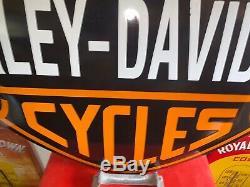 Harley Davidson Grand Bar En Porcelaine Moto Bouclier Signe 31.5 X 24 Convexe
