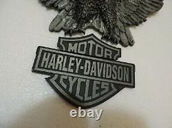 Harley Davidson Grand Cast Métal D'eagle Bar & Shield 13x11 Emblem Set Comme Montré