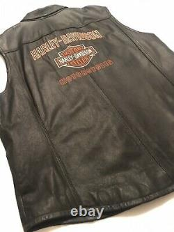 Harley Davidson Homme Bar Brodé Et Gilet En Cuir Bouclier 97064-08vm 2xl XXL