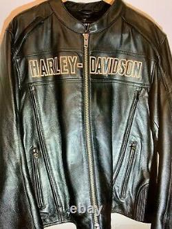 Harley Davidson Homme Midway Black XL Leather Jacket Bar And Shield