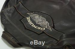 Harley Davidson Homme V-twin Veste Ajustée En Cuir Marron Et Barres Ailées L Rare
