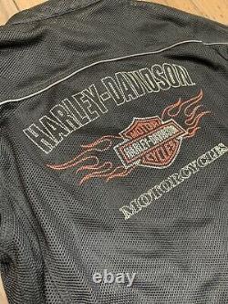 Harley Davidson Hommes Bar Shield Racing Flames Ride Ready Mesh Jacket Taille Large