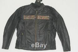 Harley Davidson Hommes Chaussée Noir Équitation En Cuir Veste Bar & Shield L 98015-10vm