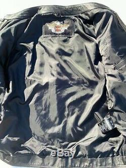 Harley Davidson Hommes Excursion Veste En Cuir Noir XL Bar & Shield 3n1 Hoodie