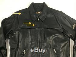 Harley Davidson Hommes Grand L Gaufrée Bar & Shield Logo Veste En Cuir Noir