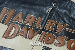 Harley Davidson Hommes Prestige Cuir USA Fabriqué Veste Bar & Shield 97000-05vm XL