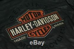 Harley Davidson Hommes Roadway Veste Noire En Cuir Bar & Shield