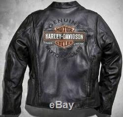 Harley Davidson Hommes Veste En Cuir Noir Roadway Bar & Shield L XL 2xl 98015-10vm