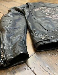 Harley Davidson Hommes Veste En Cuir Noir Taille Moyenne Bar & Bouclier