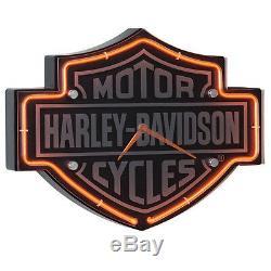Harley Davidson Horloge Néon En Forme De Barre Et De Bouclier Gravés Moto Authentique