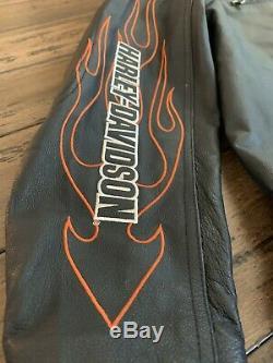 Harley Davidson Leather Bar & Shield Flames Racing Jacket XL 98000-10vt