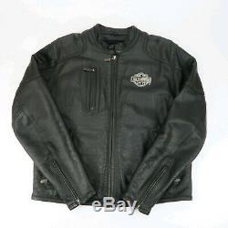 Harley Davidson Mens Bar Brodé Bouclier Noir Veste En Cuir Avec Doublure Taille L