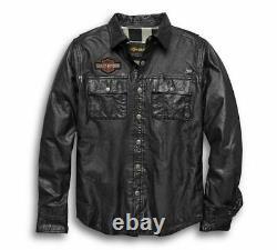 Harley Davidson Mens Bar & Shield Vintage Veste Chemise En Cuir En Détresse T.n.-o.