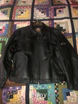 Harley Davidson Mens Gaufrée Bar & Shield Vintage Classique En Cuir Noir Veste XL