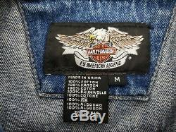 Harley Davidson Mens Medium M Denim Jean Veste Bar Bouclier Bouton Métal Spellout