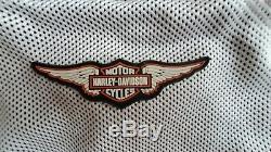 Harley Davidson Mens Mesh Jacket Riding Bar & Shield Taille 2xl Blanc / Noir Withhanger