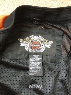 Harley Davidson Mens Nylon Bomber Veste-l-orange/noir, Bar Et Bouclier. Euc