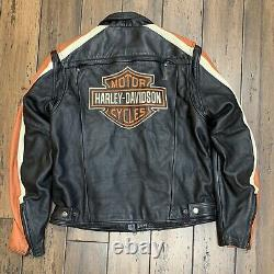 Harley Davidson Mens Racing Stripe Veste En Cuir Noir Taille Grand Bar & Bouclier