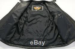 Harley Davidson Mens Veste En Cuir XL Black Cafe Basique Bouclier De Bar Skins