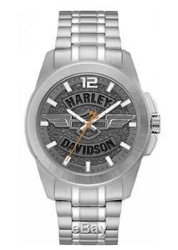 Harley Davidson Mens Wing Bar & Shield Montre En Acier Inoxydable Gris Ardoise 76a157