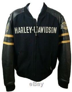 Harley Davidson Motorclothes Ridge Cuir Noir Bar & Shield Blouson Lg