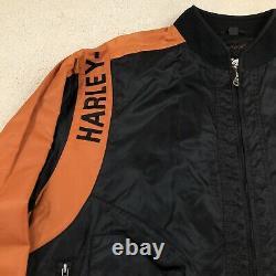 Harley Davidson Motorcycle Racing Jacket Bar Shield Grande Orange Noire Nwot