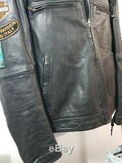 Harley Davidson Noir Bar En Cuir Shield Jacket Motorcycle Ventilé Correctifs 2xl