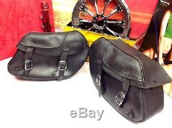Harley Davidson Oem Bar & Shield Dyna Fxd Fxdl Saddlebags En Cuir Véritable