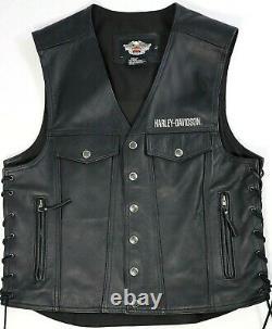 Harley Davidson Piston Bar Shield Snap USA Leather Riding Vest Taille L